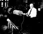 Dr. Campton inspecting a Westinghouse turbine.